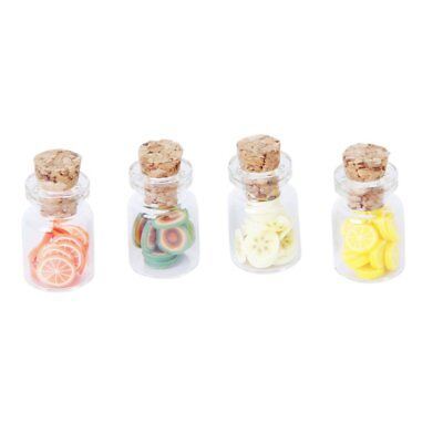 PF Set of 4Pcs 1:12 Scale Dollhouse Storage Jar with Fruit Slices Wooden Lid
