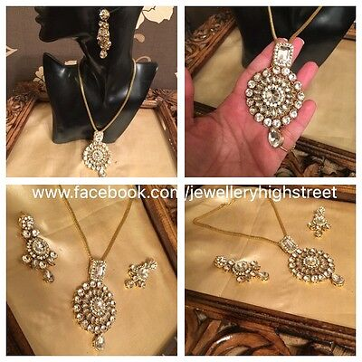 Indian Bollywood Jewellery Clear Stone &Gold  Wedding Party Pendant Necklace Set