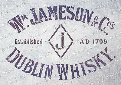 Irish Whisky STENCIL A5 JW Vintage Ind Retro Furniture Crate, SUPERIOR 250 MYLAR