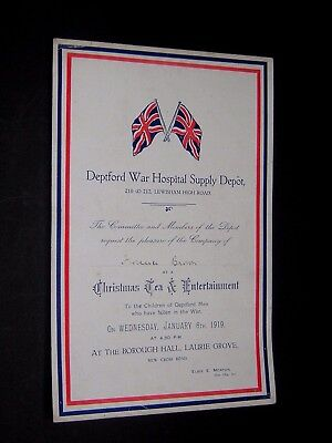 Ww1. 1919 Deptford War Hospital Supply Depot. Invite For Children Of The Fallen