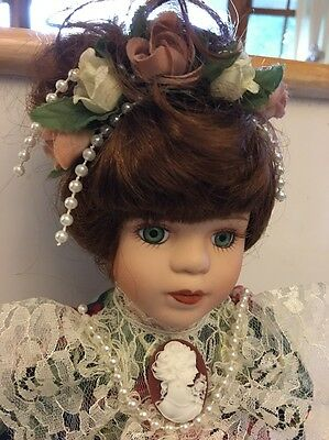 "Soft Expressions Porcelain Collectable Doll 13"" Cameo Brooch"
