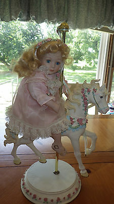 "Porcelain Doll On Carousel Horse Red Rose Blue Harness Pink Lace Dress 17"" tall"