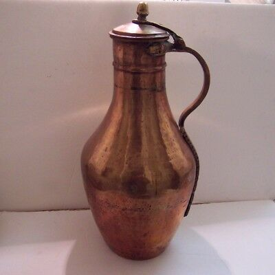 "Antique Turkish Copper Pitcher Ibrik 20"" Hand Hammered 18Th To 19Th Century"