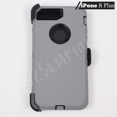 For Apple iPhone 8 Plus Gray/Black Defender Case (Clip Fits Otterbox)