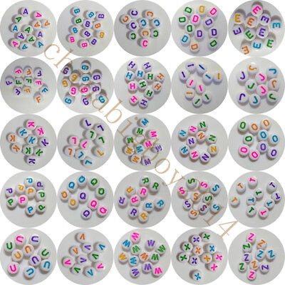 A-Z Single Letter & Alphabet Bead Coin Round Faceted Bead 100/500/1000PC 4*7mmM