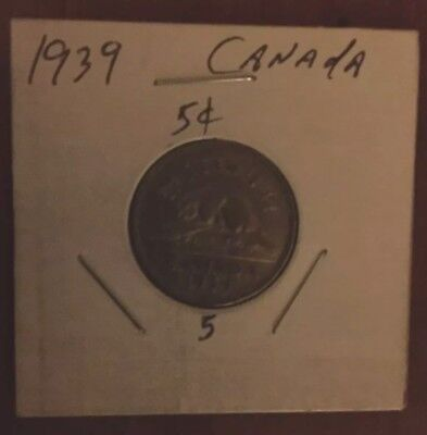 1939 Canada 5 Cent Coin