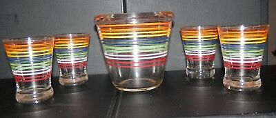 Vintage Striped Ice Bucket With Four Matching Glasses