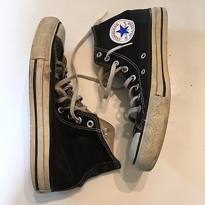 Vtg Black Converse Made In The Usa Hightops Chuck Taylors Size 7