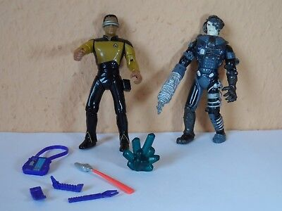 STAR TREK TNG Enterprise Geordi La Forge & Zubehör 1992 Playmates & Borg Picard