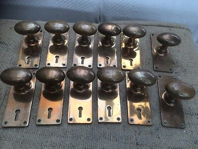 6x Antique Vintage Brass Pair Of Door Knobs Handles Oval Goose Egg Shaped