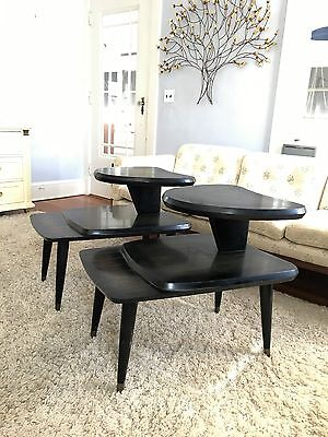 Pair of Vintage Mid Century Modern Retro Step Up Lamp End Tables Atomic