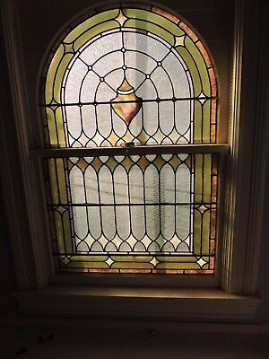 Double Hung Vintage Stained Glass Window