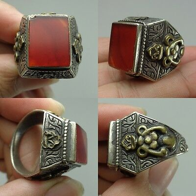 Ancient Beautiful Medieval intaglio Wonderful Antique Agate Stone Silver Ring