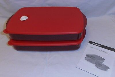 NEW TUPPERWARE red HEAT N EAT RECTANGLE LOW SET !(limited release) RRP $99