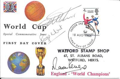 ENGLAND WORLD CUP 1966 POSTAL COVER - Signed Hurst/Peters & Hunt