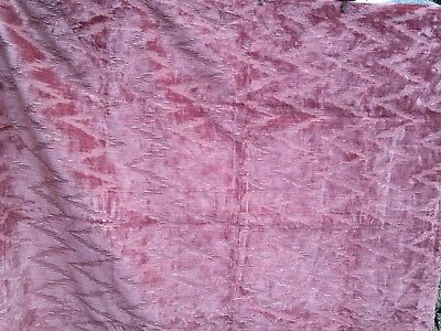Vintage coral velvety heavy upholstery fabric offcut