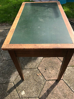 Vintage leather topped desk with brass handles - used