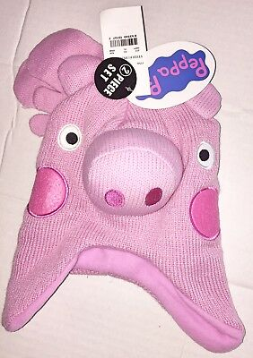 PEPPA PIG Face Hat & Mittens Set Infant/Toddler New