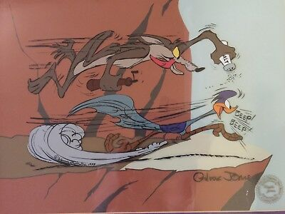 Chuck Jones Signed Wile Coyote & Road Runner Original Animation Production Cel