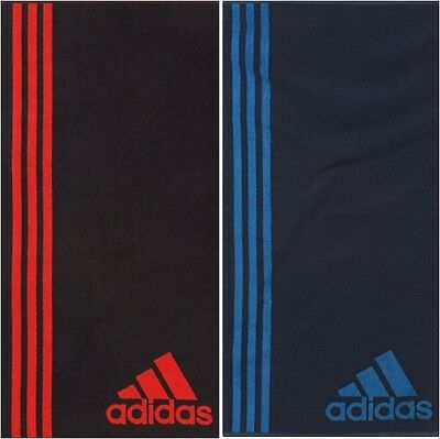 NEW QUICK DRY ADIDAS SPORTS TOWEL BLACK / RED OR NAVY / LIGHT BLUE 100cm x 50cm