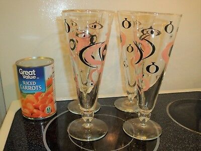 60's Mid Century Set of 4 Pilsner Glasses Atomic Space Age Kitschy Bar