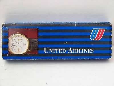 Rare Vintage United Airlines Dual Time w/ Leather Band in Original Case and Box