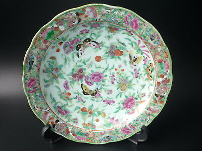 Antique 19th Century Chinese Porcelain Hand Painted Butterfly Flower Plate