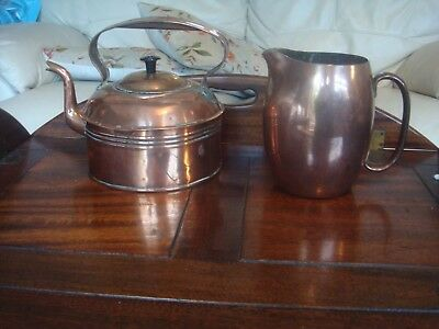 antique vintage kettle & large art deco jug authentically used condition 1920/30