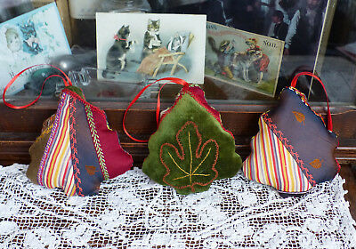 Antique Crazy Quilt Trees Christmas Ornaments with organic lavender 3