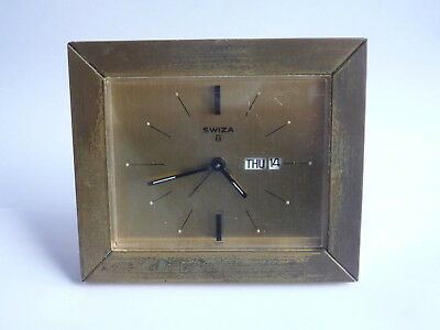 Vintage Swiss Made SWIZA 8 Day Mantel Calendar Alarm Clock - Working