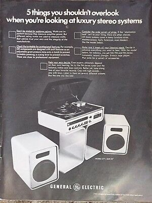 vintage GENERAL ELECTRIC stereo print ad playboy magazine august 1971