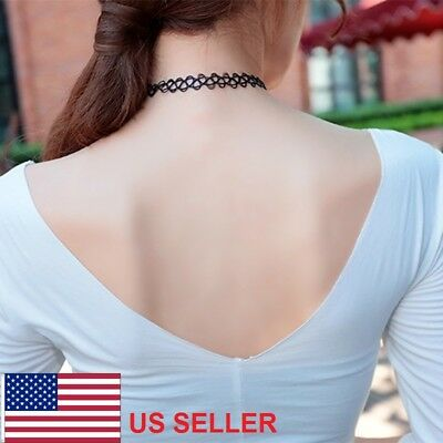 Fashion Tattoo Choker Stretch Necklace Retro Henna Elastic Boho 80s 90s Punk