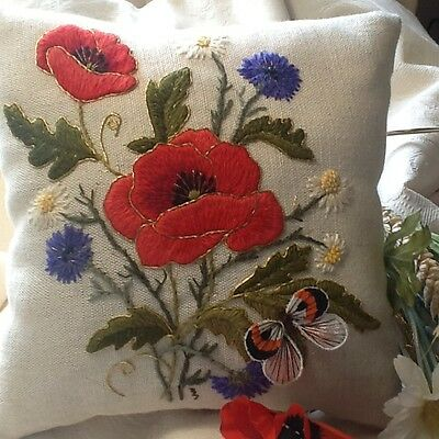 Harvest Poppies- a crewel embroidery kit