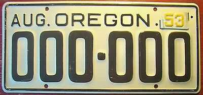 1953 Oregon Sample All Zeros License Plate Auto Tag 000-000 1950 With Metal Tab