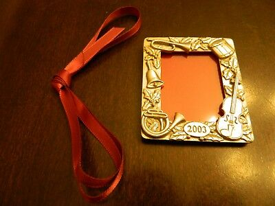 Longaberger 2003 Christmas Pewter Picture Frame Tie-On Ornament New Without Box