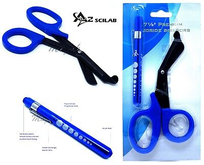 BLUE Reusable Aluminum Pocket Penlight+Fluoride Coated Trauma Paramedic Shears