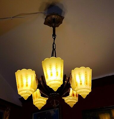 Beautiful 1920s Lincoln Art Deco 5 light Slip Shade Chandelier with amber shades