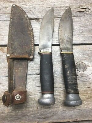 Vintage (2) Marbles Gladstone 1916 Knife Survival Skinning Hunting Fixed Blade