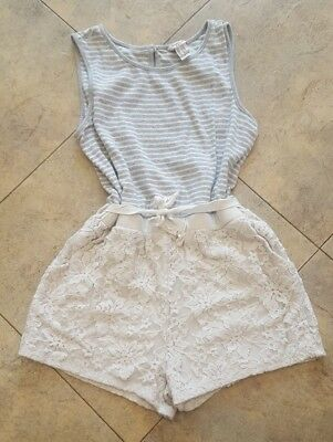 Forever 21 Girls size 11-12 Romper Grey White Stripe Lace