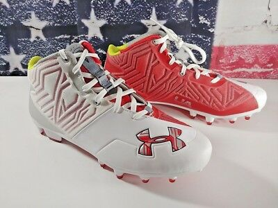 NEW Under Armour BANSHEE Mid Red White Lacrosse Football Cleats Size 8 US