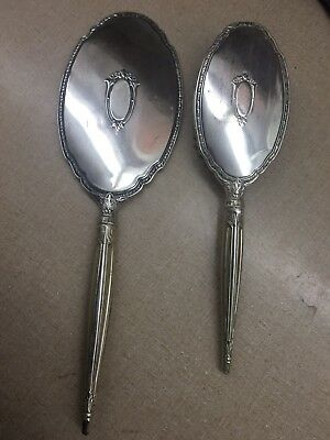 Antique S&B Sterling Silver Vanity Set - Ornate Mirror And Brush
