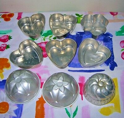 Set Of 9 VINTAGE ALUMINUM BAKING MOLDS MINI Hearts, Rounds & Clover