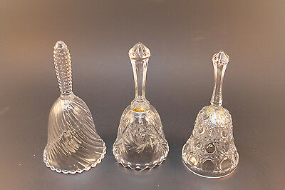 Glass Bells Different Patterns Lot of 3