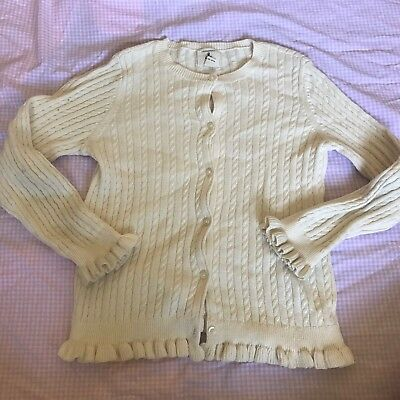 Lands End Girls Size 6 Large Ivory Cardigan Sweater Cable Knit Ruffle