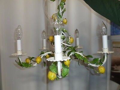 Italian  Lemons and Leaves Tole Chandelier  MADE IN ITALY   FABULOUS   5 light