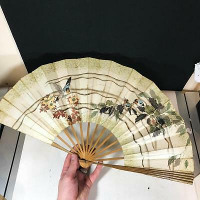 Large Vintage Hand Fan Wooden / Card Handmade Oriental Handfan Birds - Chinese