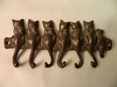 Vintage San Pacific Int'l. Brass Cat Key/wall Holder With Hooks - Sweet - Euc