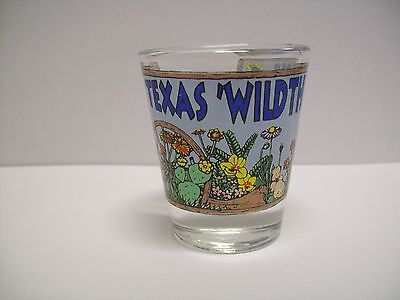 VINTAGE TEXAS SHOT GLASS Wild THANGS flowers barware collectible TRAVEL souvenir