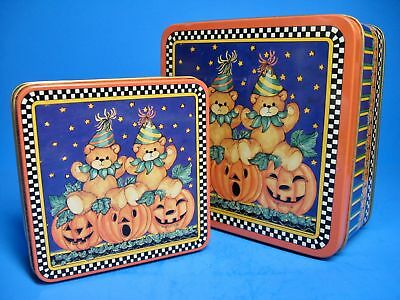 "Vintage ENESCO ""Lucy & Me"" Bears on Pumpkins HALLOWEEN METAL TINS (2)"