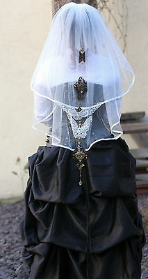 Steampunk Vintage Style Butterfly Handmade Unique Ivory 2 Tier Wedding Veil